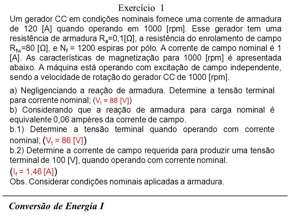 Exercício 1 (If = 1,46 [A]) Conversão de Energia I